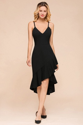 Arnold | Sexy V-neck Spaghetti Strap Ruffles Little Black Dress_1