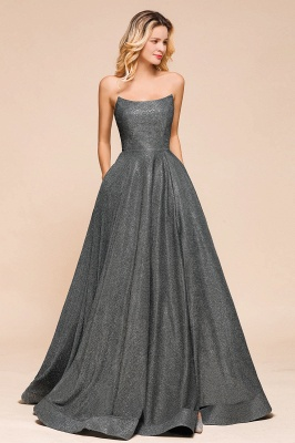 April | Strapless A-line High Slit Gray Shiny Sequined Prom Dress_5