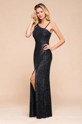 Timeless Black Sequined One shoulder Column High Split Prom Dress_8