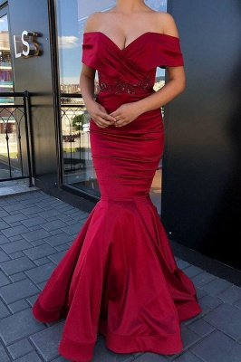 Gorgeous Off-the-shoulder Burgundy Jewel Mermaid Prom Dress