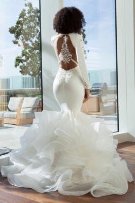 Sexy sereia profundo decote em v estiramento de cetim e organza empilhada furada volta vestidos de noiva com apliques de renda | Vestidos de noiva baratos até o chão_3