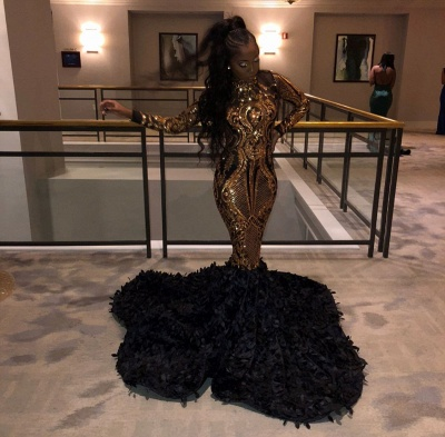 Golden Metallic Sequined Black High neck Mermaid Prom Dress with Fur_2