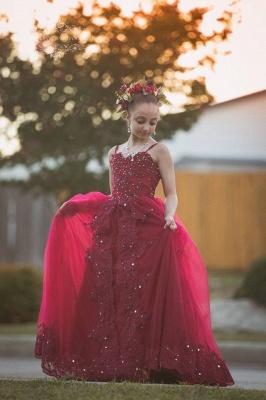 Hada Tulle Apliques de encaje Espagueti Escote corazón Vestidos de niña de las flores con nudos de lazo | Vestidos de desfile de niñas con espalda abierta hasta el suelo baratos_2