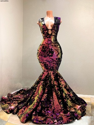 Radiant Sequins V-Ausschnitt ärmellose Hofzug Mermaid Prom Dresses_2