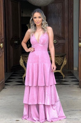 Sparkle Candy Pink Deep V-neck Shiny Open Back Pleats Prom Dresses with Romantic Ruffles_1
