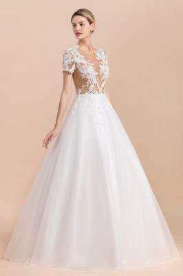 Elegant White Short Sleeves Ball Gown Buttons Lace Applique Wedding Dress_7
