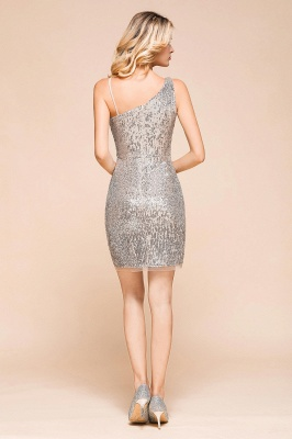 Shining Silver Sequined One shoulder price Short Cocktail Dress in Mini length_3