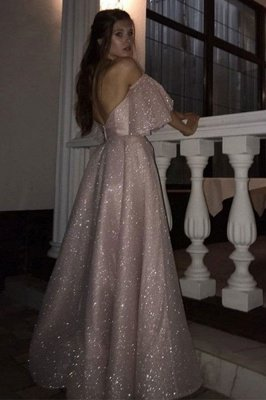 Sparkle Pearl Pink Sequined High Split A-line Prom Dress with Bracelet_2