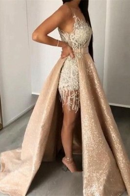 Gorgeous Lace Appliques Crystal V Neck Spaghetti Straps Prom Dresses With Detachable Skirt | Cheap V Back Sleeveless Party Gowns