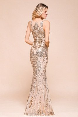 Sparkle Sequined High neck Sleevelss Rose Gold Mermaid Long Evening Dresses_8