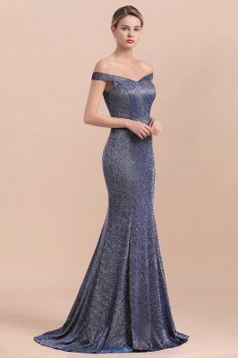 Elegant Off-the-shoulder Sparkly Sequin Long Gray Prom Dress with Floor length Train_7