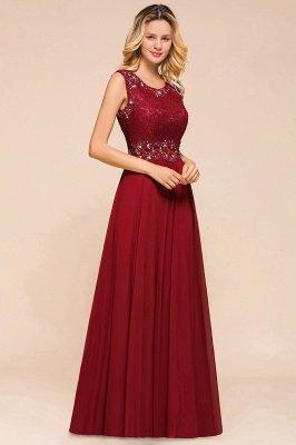 Arla | Trendy Round neck Beaded Burgundy Lace Bridesmaid Dress with Belt_4