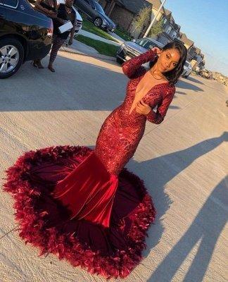 Burgundy V-neck Long sleeve Sequined Mermaid Velvet Fur Prom Dresses_2