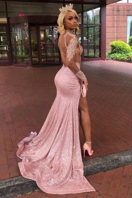Sexy Dusty Pink Long Sleeves Lace Appliques 2021 High Split Sequined Long Prom Dress_2