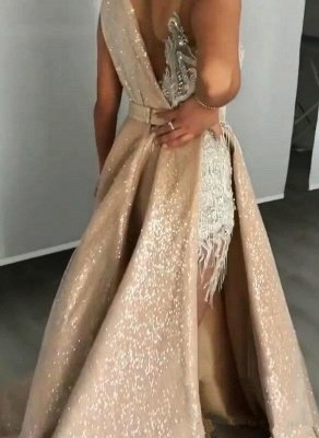 Gorgeous Lace Appliques Crystal V Neck Spaghetti Straps Prom Dresses With Detachable Skirt | Cheap V Back Sleeveless Party Gowns_2