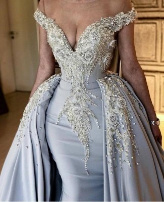 Fashion Off The Shoulder V Neck Mermaid Beading Appliqued Prom Dresses With Overskirt | Cheap Blue Sleeveless Long Party Gowns