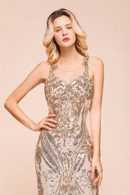 Sparkle Sequined High neck Sleevelss Rose Gold Mermaid Long Evening Dresses_9