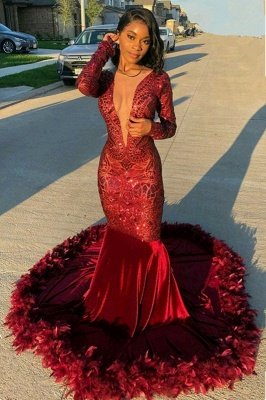 Burgundy V-neck Long sleeve Sequined Mermaid Velvet Fur Prom Dresses