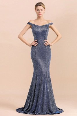 Elegant Off-the-shoulder Sparkly Sequin Long Gray Prom Dress with Floor length Train_4