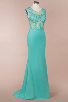Arrick | Mint Green round neck Cap sleeve Lace appliques Prom Dress_4