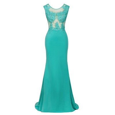 Arrick | Mint Green round neck Cap sleeve Lace appliques Prom Dress_9