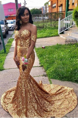 Off The Shoulder Mermaid Sweetheart Sleeveless Sequins Prom Dresses | Cheap Gold Floor Length Party Gowns