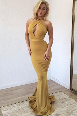 Cheap 2020 Ginger Halter Keyhole Mermaid Long Prom Dress Online