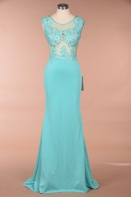 Arrick | Mint Green round neck Cap sleeve Lace appliques Prom Dress_1