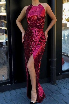 High round neck Sparkly Sequined High Slit Burgundy Cheap Prom Dress