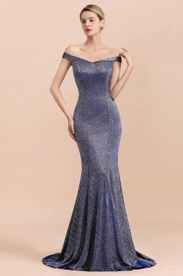 Elegant Off-the-shoulder Sparkly Sequin Long Gray Prom Dress with Floor length Train_8