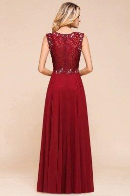 Arla | Trendy Round neck Beaded Burgundy Lace Bridesmaid Dress with Belt_3