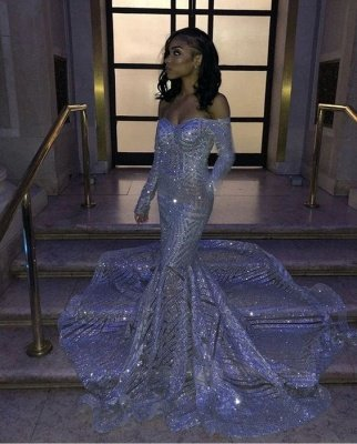 Sweetheart Strapless Sequins Long Train Mermaid Prom Dresses with Sleeves_2