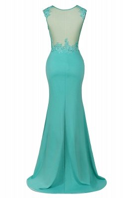 Arrick | Mint Green round neck Cap sleeve Lace appliques Prom Dress_10