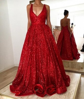 Hot Ruby backless Shining Sequin V-neck Ball Gown Evening Gowns Online_2