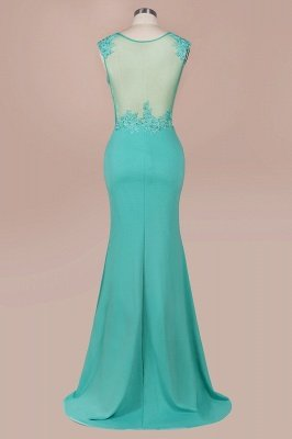 Arrick | Mint Green round neck Cap sleeve Lace appliques Prom Dress_3