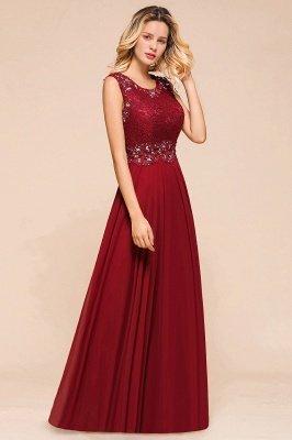 Arla | Trendy Round neck Beaded Burgundy Lace Bridesmaid Dress with Belt_7