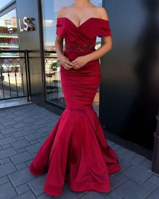 Superbe robe de bal sirène bijou bordeaux à épaules dénudées_2