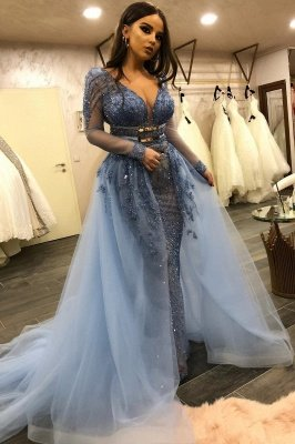 Gorgeous Long Sleeves V-Neck Lace Beaded Mermaid Prom Dresses with Over Skirt