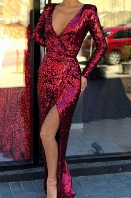 Sparkly Burgundy Deep V-neck High Slit Sequined Evening Gowns