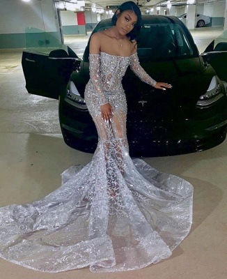 Shiny Silver Off-the-shoulder Long Sleeves Appliques Court Train Mermaid Prom Dresses_2