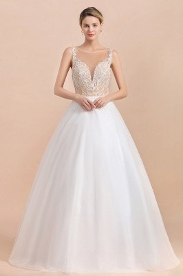Gorgeous Illusion neck Buttons Sleeveless White Ball Gown Wedding Dress