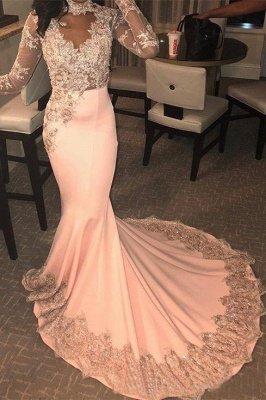 Trendy Long Sleeves Appliques Pink Mermaid Abendkleider_1
