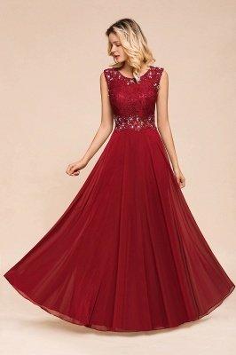 Arla | Trendy Round neck Beaded Burgundy Lace Bridesmaid Dress with Belt_5