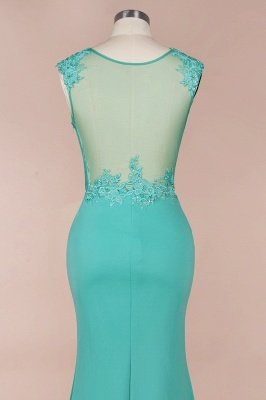 Arrick | Mint Green round neck Cap sleeve Lace appliques Prom Dress_5