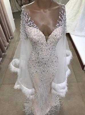 Luxuriöse Meerjungfrau V-Ausschnitt mit langen Ärmeln Kristall bodenlangen Abendkleider mit Quasten | Günstige Perlen Abendkleider_2