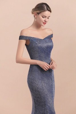 Elegant Off-the-shoulder Sparkly Sequin Long Gray Prom Dress with Floor length Train_9