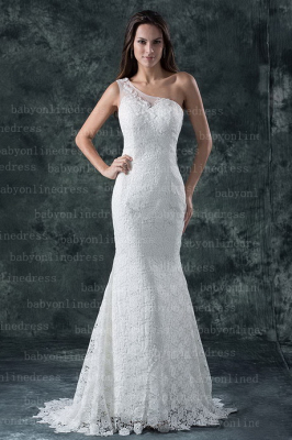 Elegant Mermaid One Shoulder Backless Side Zipper Lace Wedding Dresses with Court Train