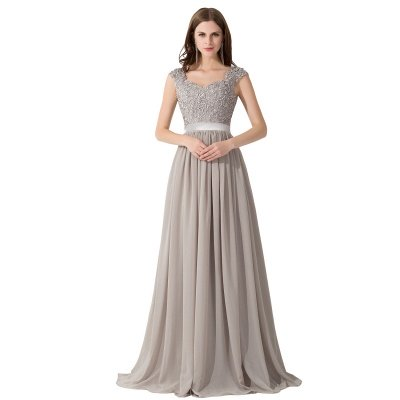 ADA | A-line V Neck Chiffon Bridesmaid Dress with Appliques_1