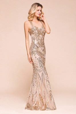 Sparkle Sequined High neck Sleevelss Rose Gold Mermaid Long Evening Dresses_5