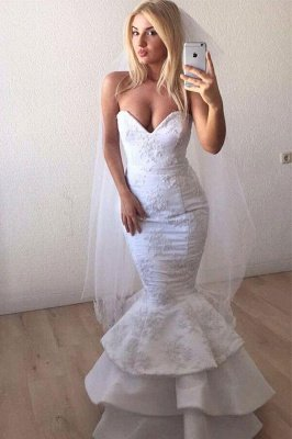 Sexy Sweetheart White Lace Appliques Mermaid Ruffles Long Wedding Dress